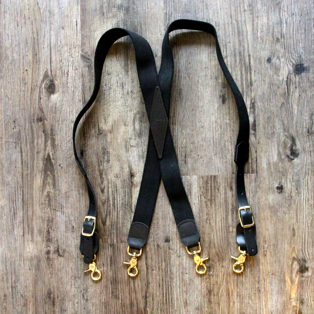 x-back black suspenders snap