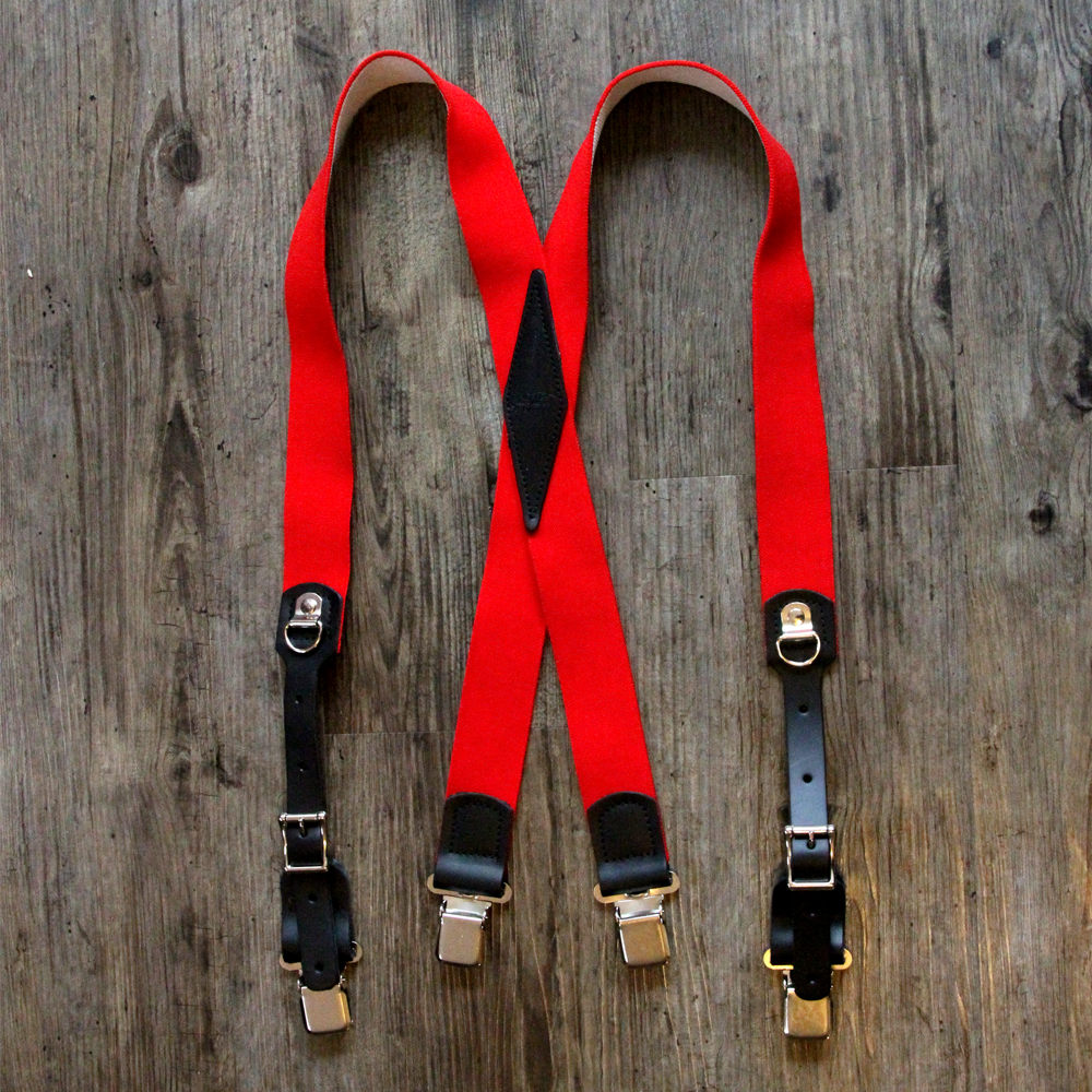x-back red clip suspenders
