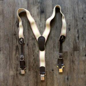 Tan Y-Back Clip Suspenders