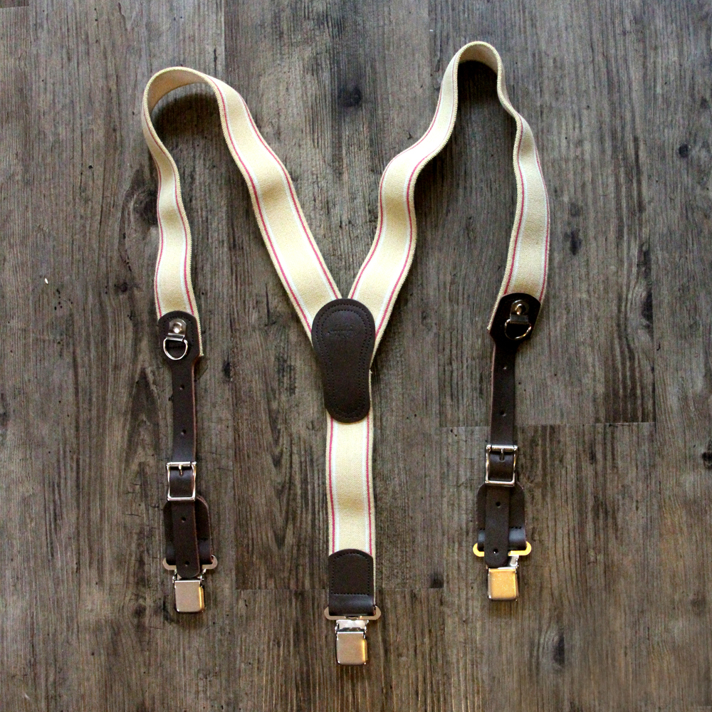 Tan Y-Back Clip Suspenders