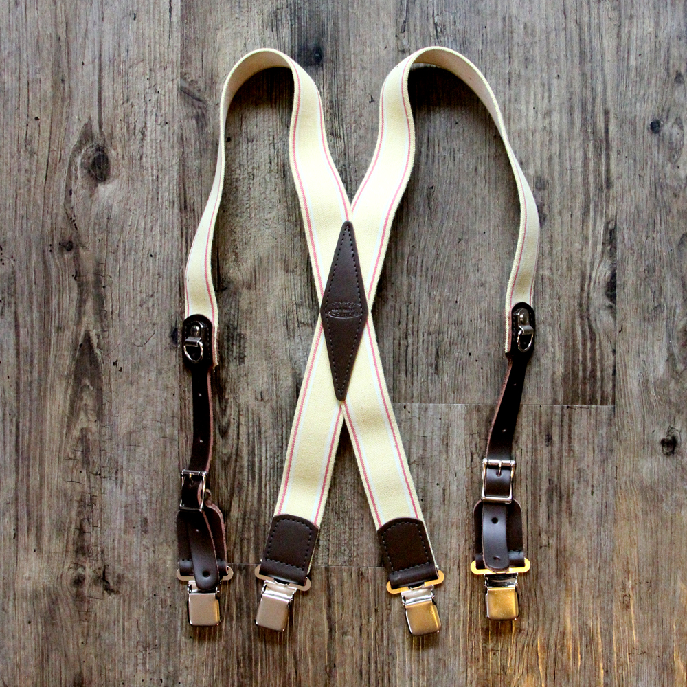 x-back clip suspenders tan